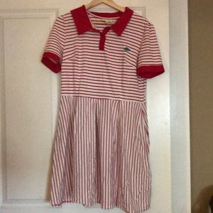 Modcloth Dinosaur Red/White Polo Dress XL